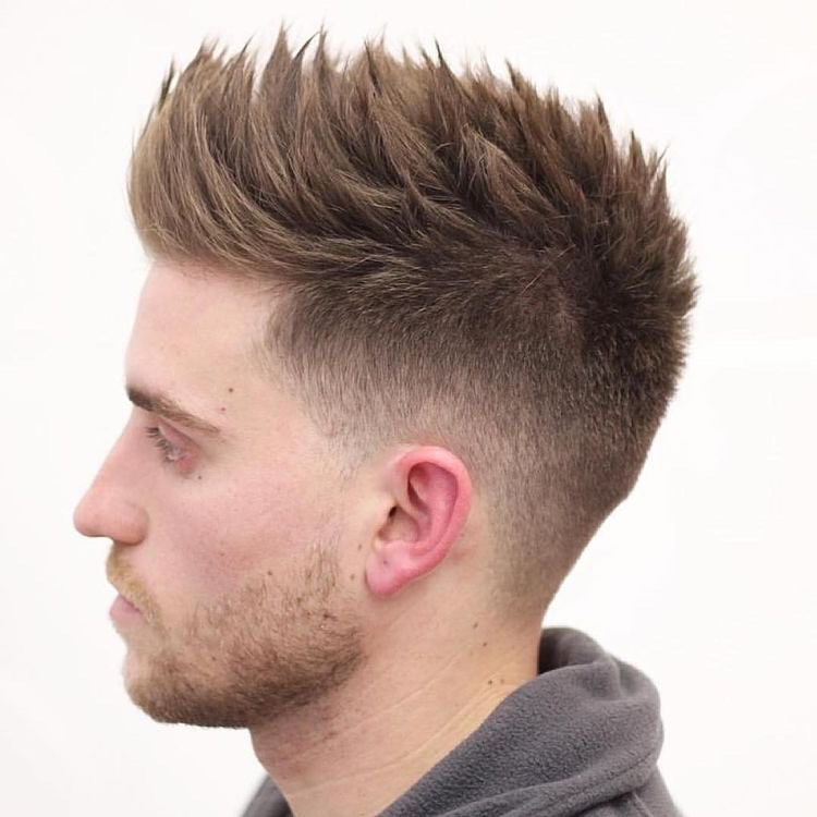 Textured Crew with Fade hairstyle for men